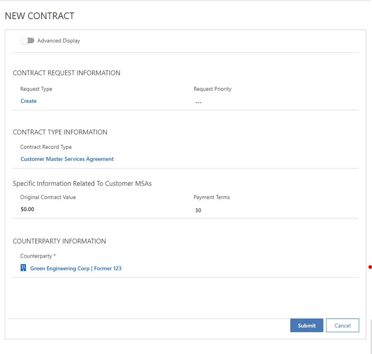 Self Service Contract Requests for Salesforce